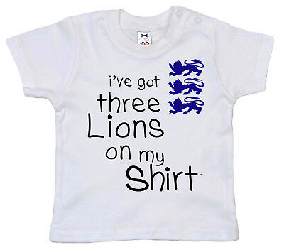 "Funny Baby T-Shirt ""I've got 3 Lions on my Shirt"" World Cup 2018 England Gift"