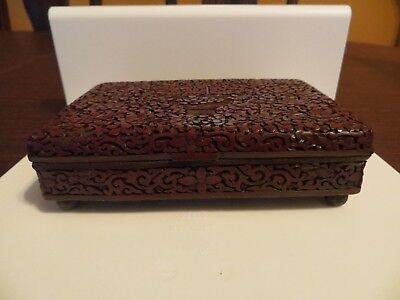 Chinese Carved Cinnabar Red Lacquer Storage footed Trinket Box