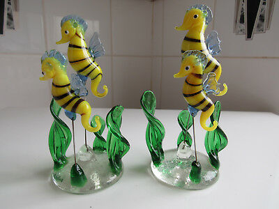 Vintage Murano Glass  Seahorses On Wire Stalks X 2 .. Free Post
