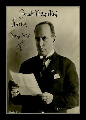 Collectors/Photograph/Photo/Print/Benito Mussolini /Italy/WW2/Dictator/Signed