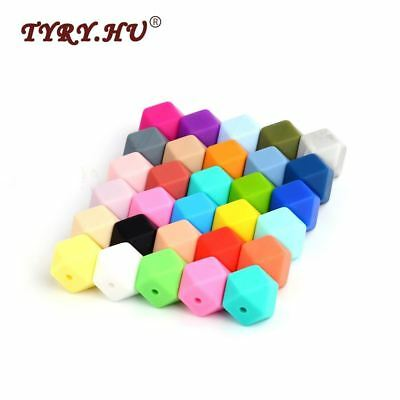 10pcs Hexagon Loose Silicone Beads Pink Chewing Beads BPA Food Grade For Baby Te