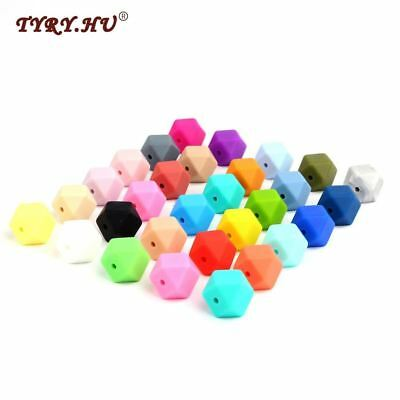 Colorful 50pc Loose Silicone Beads Large Small Hexagon 17mm 14mm Jewelry Beads B