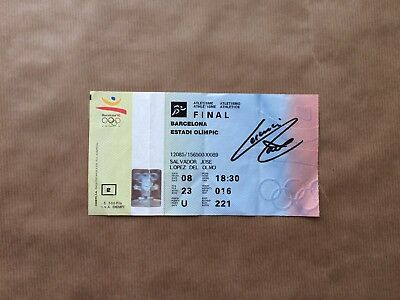 Barcelona Olympics Athletics 1992 Ticket For 8 August Final Signed Fermín Cacho
