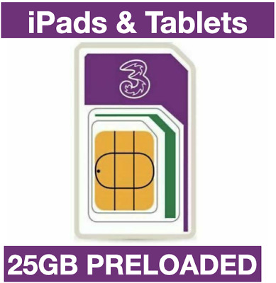 Three Network TRIO Sim card,Preloaded with £30 Credit to Buy 36GB Data Add-on