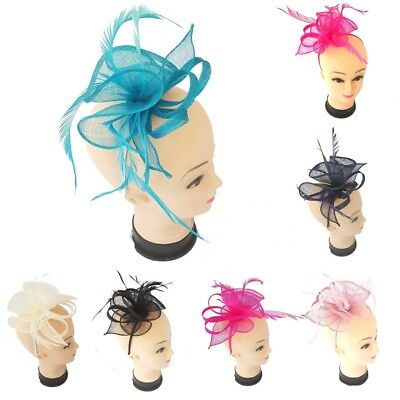 Ladies Flower Feather Fascinator Aliceband Hat Women Hair Band Race Royal Ascot