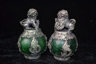 chinese Collectible green jade carve handwork tibet silver kylin PAIR Statue