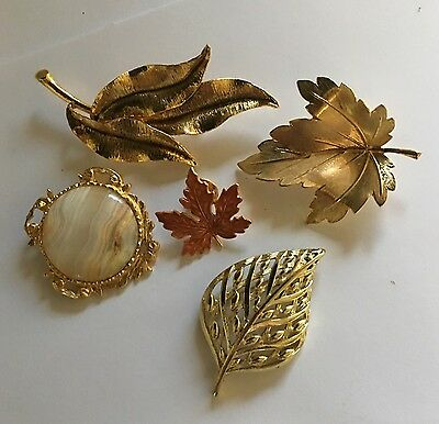 Lot Of 5 Pcs --- Women's Vintage Brooches / Pins Mostly Leaves Very Nice Lot!!!