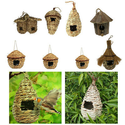 Pet Products Grass Bird Nest House Feeder Birdhouse Hut Rustic Rope Hanging