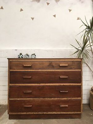 Vintage Antique Architectural Industrial School Chest Of Drawers Mid Century