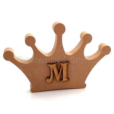 Personalised Crown Shape With Letter Freestanding / Wall Mounted MDF Craft Blank
