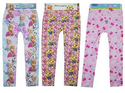 Girls Leggings Disney Frozen Minions Peppa Pig All Over Printed 2-9 Years Bnwt