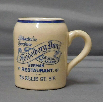 ANTIQUE mug / stein match holder striker HEIDELBERG INN RESTAURANT SAN FRANCISCO