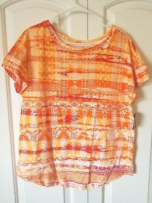 Palm Harbour Women's Knit Top NWT Multicolored Geometric Cap Sleeve Round Neck