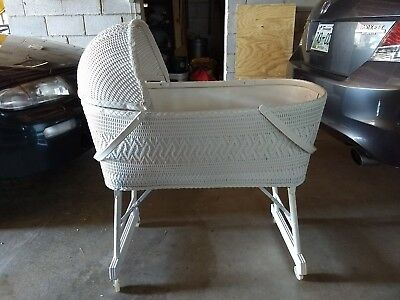 Vintage White Wicker Burlington Baskenette Baby Bassinet Wheels/Hood baby bed