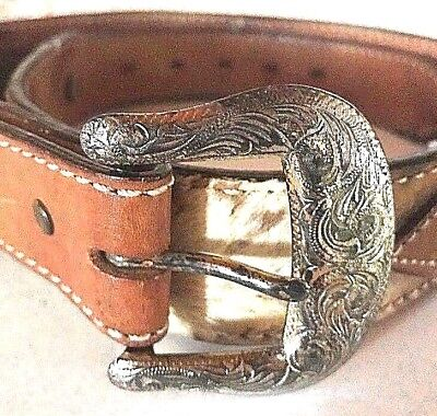 Circle Y Yonkum Texas Hand Made Belt Cowhide Hair Leather Brown Conchos 1994