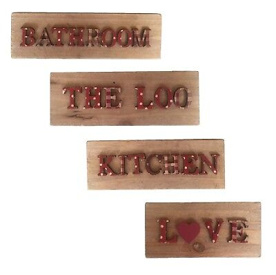 Wooden Sign Wall Hanging Plaque Country Style Sass & Belle Bathroom Love Kitchen