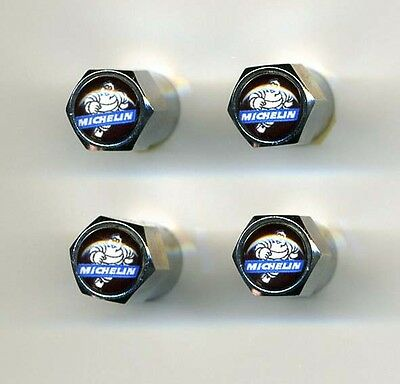 Michelin Man 4 Chrome Plated Brass Tire Valve Caps Car or Bike Golf Carts