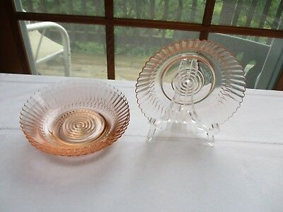 Vtg~Pink Depression Bowls~ Bulls Eye Bottom/Vertical Rib/With Scalloped Rim ~ 4