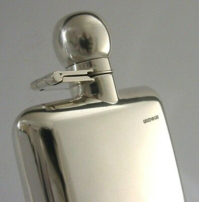 English Solid Silver Hip Spirit Hunting Flask London 2007