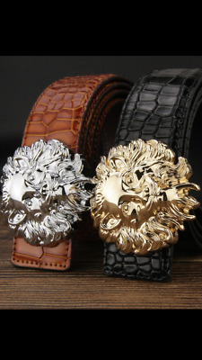New Womens Belts Lions Buckle Reversible Leather H Belt & Croc For Women Ladies