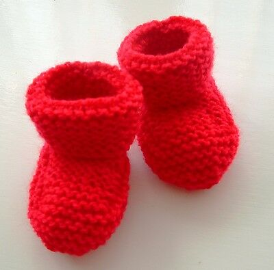 Baby Hand Knitted Bootees / Booties 0-3 Months Red New