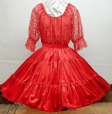 2 Piece Red Lace And Velvet Square Dress