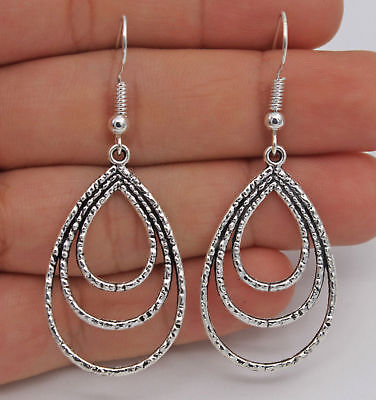 Great New Sterling Silver Plated Triple Nested Water Drop Hook Dangle Earrings