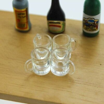4pc Dollhouse Miniature Clear Water Glass Drink Cup Mugs Kitchen Accessory 1/12
