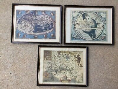 Vintage Maps Framed Old Repro Collection Virginia John Smith Armillary X3