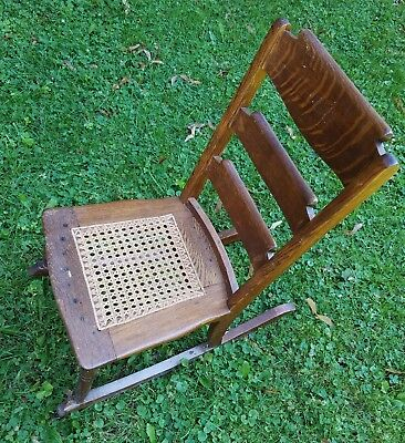 Antique Victorian Child's Oak Rocker Rocking Chair w/Woven Cane Seat