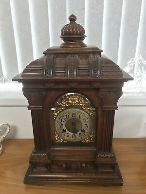 Ornate Circa 1900s Oak Case Large Bracket Clock. 50cm H X 30 cm W X 18 cm D