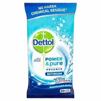 Dettol Power & Pure Bathroom Wipes 80 per pack