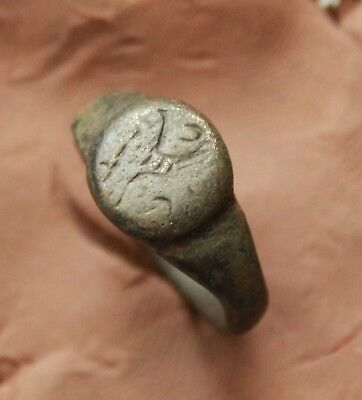 Ancient Roman Bronze Intaglio Seal Ring Size D=18mm 5g Rare Quality