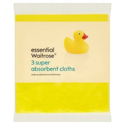 Essential Waitrose Super Absorbent Cloths 3 per pack