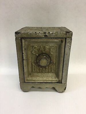 "Antique Cast Iron Still Bank ""Safe Deposit"" With Combination Dial"