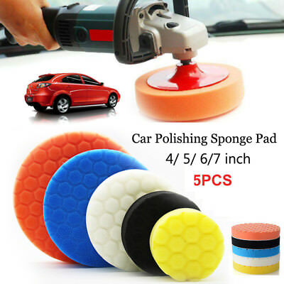 "5Pcs 3/4/5/6/7"" Buffing Sponge Foam Polishing Pad Kit Set For Car Polisher Buffe"