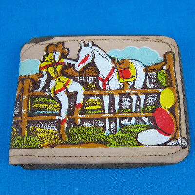 VTG NOS 1950s Western Style Bi-Fold Wallet 60s mid century child's horse cowgirl
