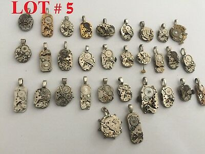 Gears Mechanical Watch Wheels Movements parts steampunk old Vintage Pendant Lot