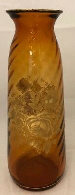"11 3/4"" Hand Blown Amber Glass Swirl Vase With Gold Overlay Flowers And Trim"