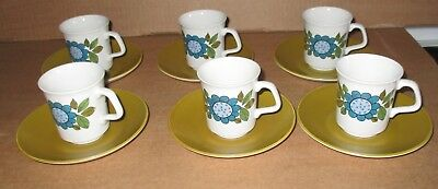 J & G Meakin Studio Topic  Vintage Coffee Cups & Saucers Set Of 6  Excellent