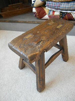 Early Primitive Wood Foot Stool Bench Childs Dairy Milking Rustic Display