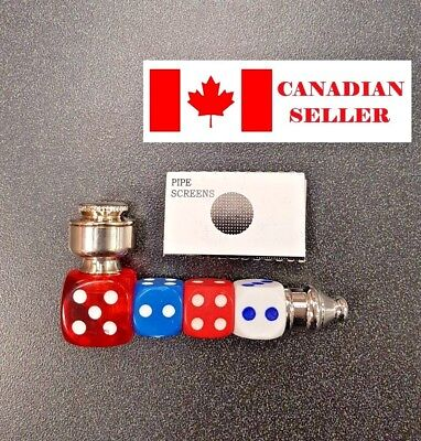 Dice Metal smoking pipe + 5 extra screens, Dry herb.NEW. Canadian Seller.