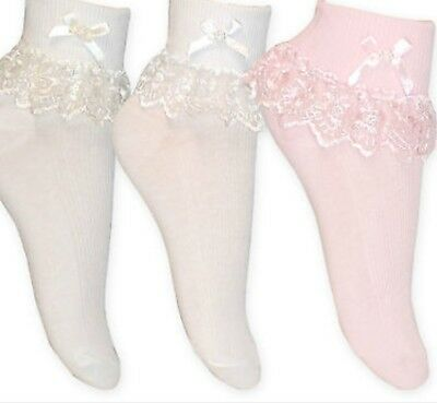 Baby Girls Gorgeous Ribbon / Pearl Frilly Ankle Socks Sizes Newborn  To Big Size
