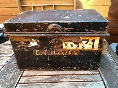 Industrial Vintage 1900s Old Rusty Metal Money Petty Cash Deed Tin Box WITH Key