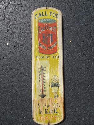 Rare Early Calumet Kid & Indian Baking Powder Wood Thermometer Sign.