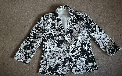 George Collection Black/white Floral Jacket Size 14