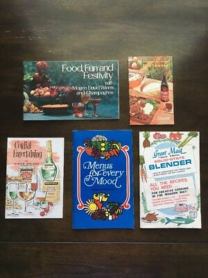Lot of 5 Vintage Food Drink Booklets Recipes Wine Booze 1960s 1970s Retro Kitch