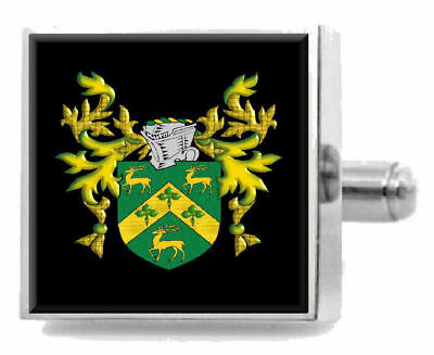 Select Gifts Risbell England Family Crest Surname Coat Of Arms Gold Cufflinks Engraved Box