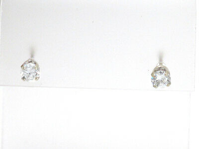 14k White Gold Round Diamond Solitaire Stud Earrings .40ct