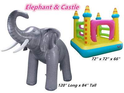 Inflatable Lifelike Size Elephant Replica Decor Bounce House Castle Jumper Kids